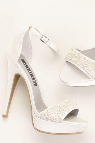 Pearls Embellished High Heel Platform Pumps White Bridal Shoes
