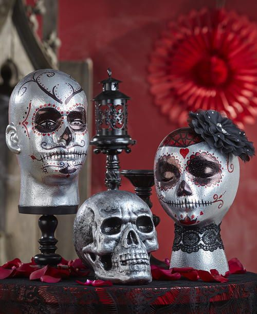 Day of the Dead Decorated Foam Heads