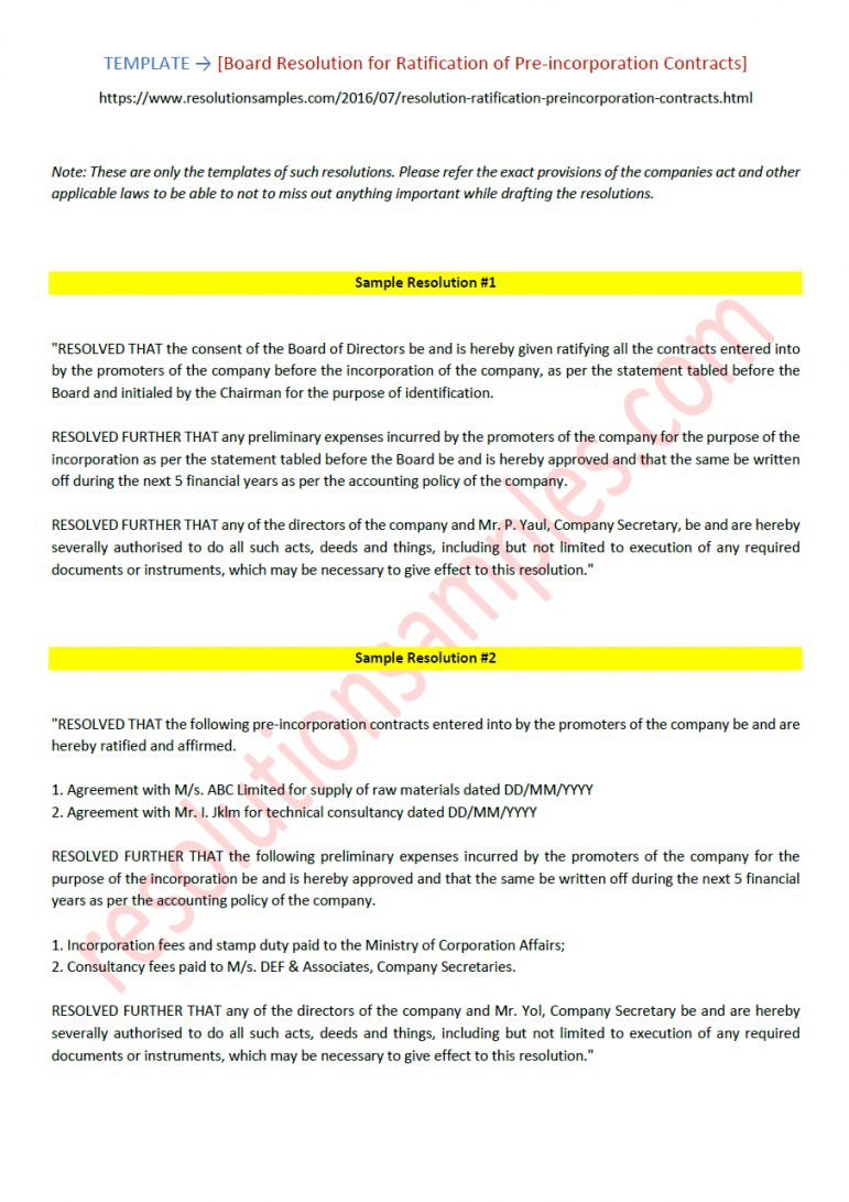 Pre Incorporation Agreement Template In 2020 With Images
