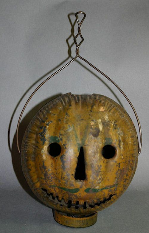antique tin halloween parade lantern jack o lantern 100 original - Metal Halloween Decorations