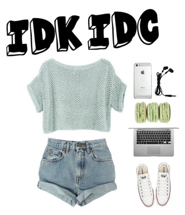 """IDK IDC"" by hawtblawger ❤ liked on Polyvore featuring Converse, Levi's, Ladurée, women's clothing, women, female, woman, misses and juniors"