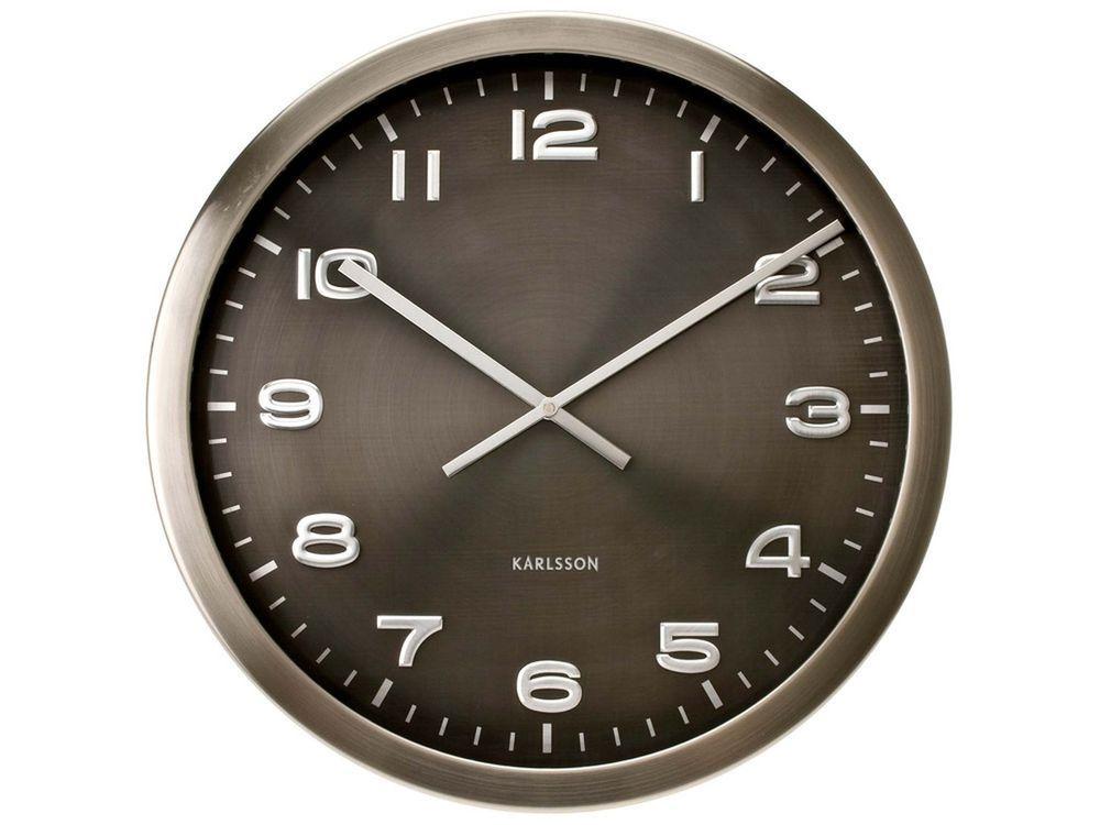 Karlsson Maxie Steel Polished Wall Clock 50cm In Home Furniture Diy Clocks Wall Clocks Ebay Horloge Karlsson Horloge Deco Murale Originale