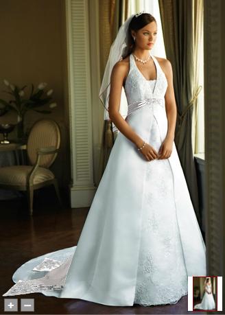 Satin A Line Halter With Split Front Wedding Dress