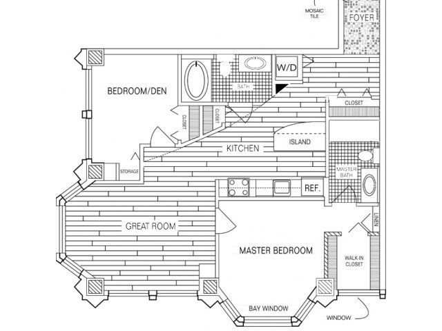 2 bedroom 2 bath floor plan of property fisher building for Apartment renovation plans