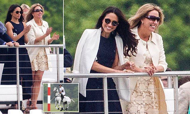 The Suits actress, 35, who looked impeccably stylish in a navy asymmetric dress and white blazer, beamed and clapped as she watched the young royal play polo at Ascot in Berkshire.
