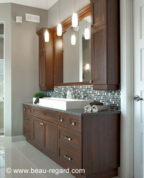 Armoire de salle bain en m lamine et polyester salle de for Armoires de salle de bain