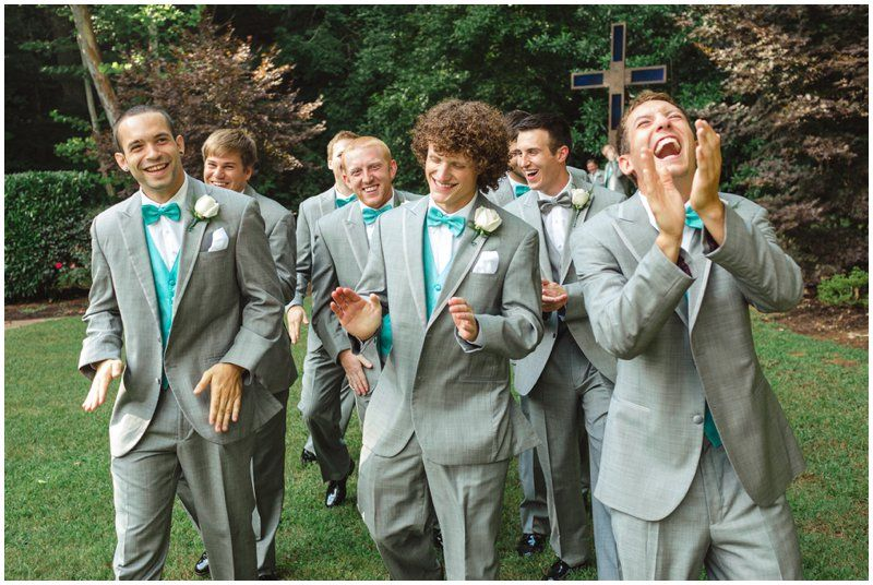Custom Made Gray Line Men\'s Beach Wedding Groomsman Suits Sky Blue ...
