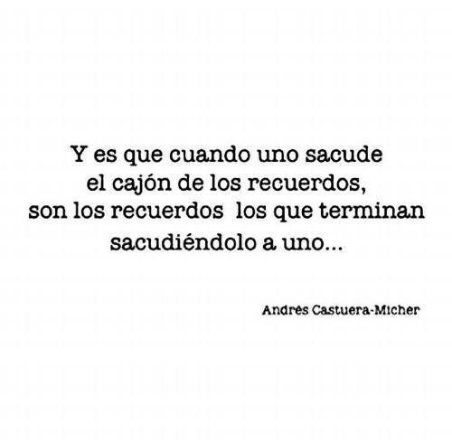 Son los recuerdo los que terminan sacudiéndolo a uno... Andres C.