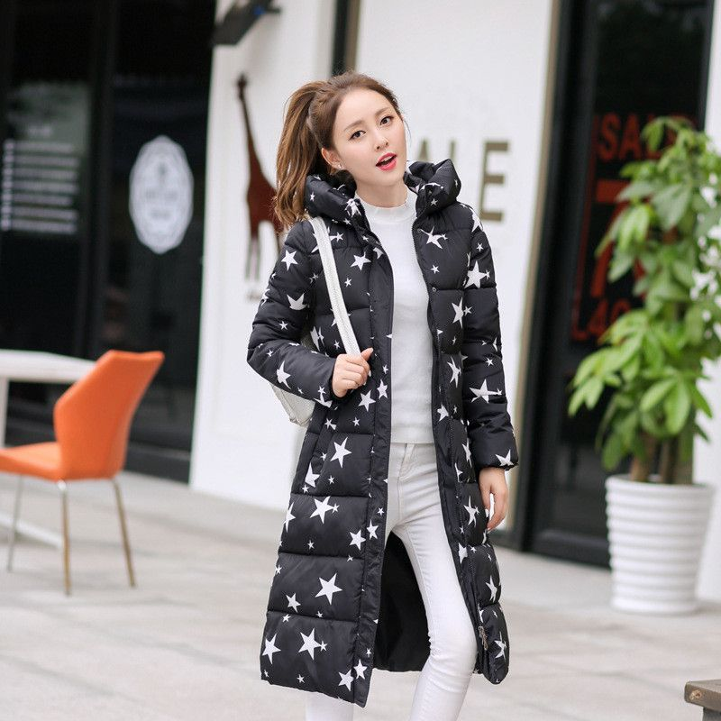33cd9ccf2eeae Star Design Coat Jacket. 2016 Fashion Winter Cotton Padded Jacket Women  Slim Thick Stars Print Female Coat Parka Warm Winter