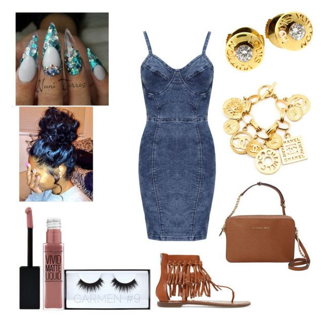 """""""Gang Gang- Pnb Rock"""" by mirah123 ❤ liked on Polyvore featuring WearAll, Maybelline, Huda Beauty, Sam Edelman, MICHAEL Michael Kors, Louis Vuitton and Chanel"""
