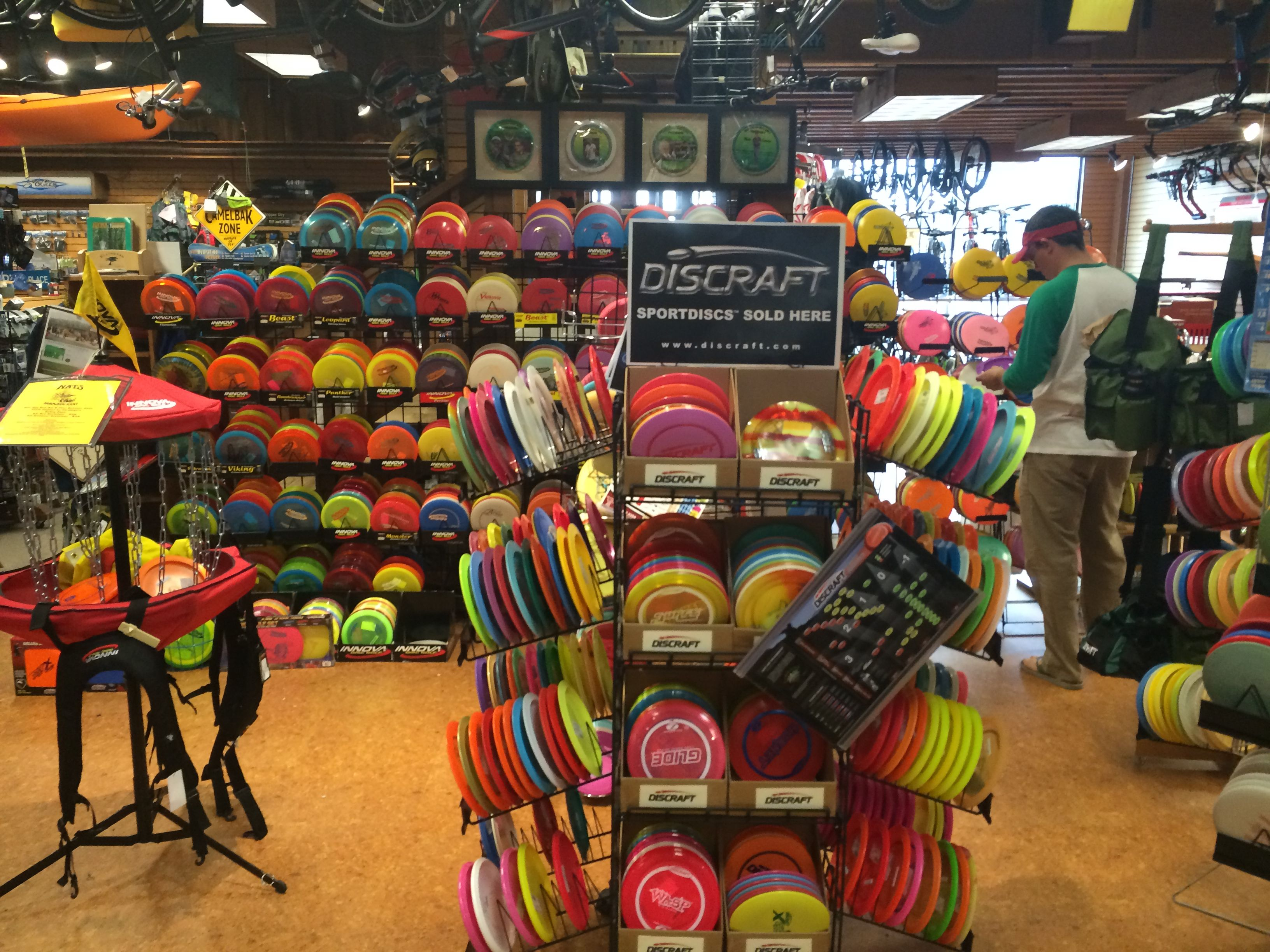 Another shot of the selection of disc golf goo s at Nats Outdoors