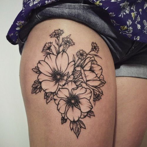 Floral Outline Thigh Tattoo I Would Like Different Flowers Pretty Flower Tattoos Tattoos Tattoos For Women