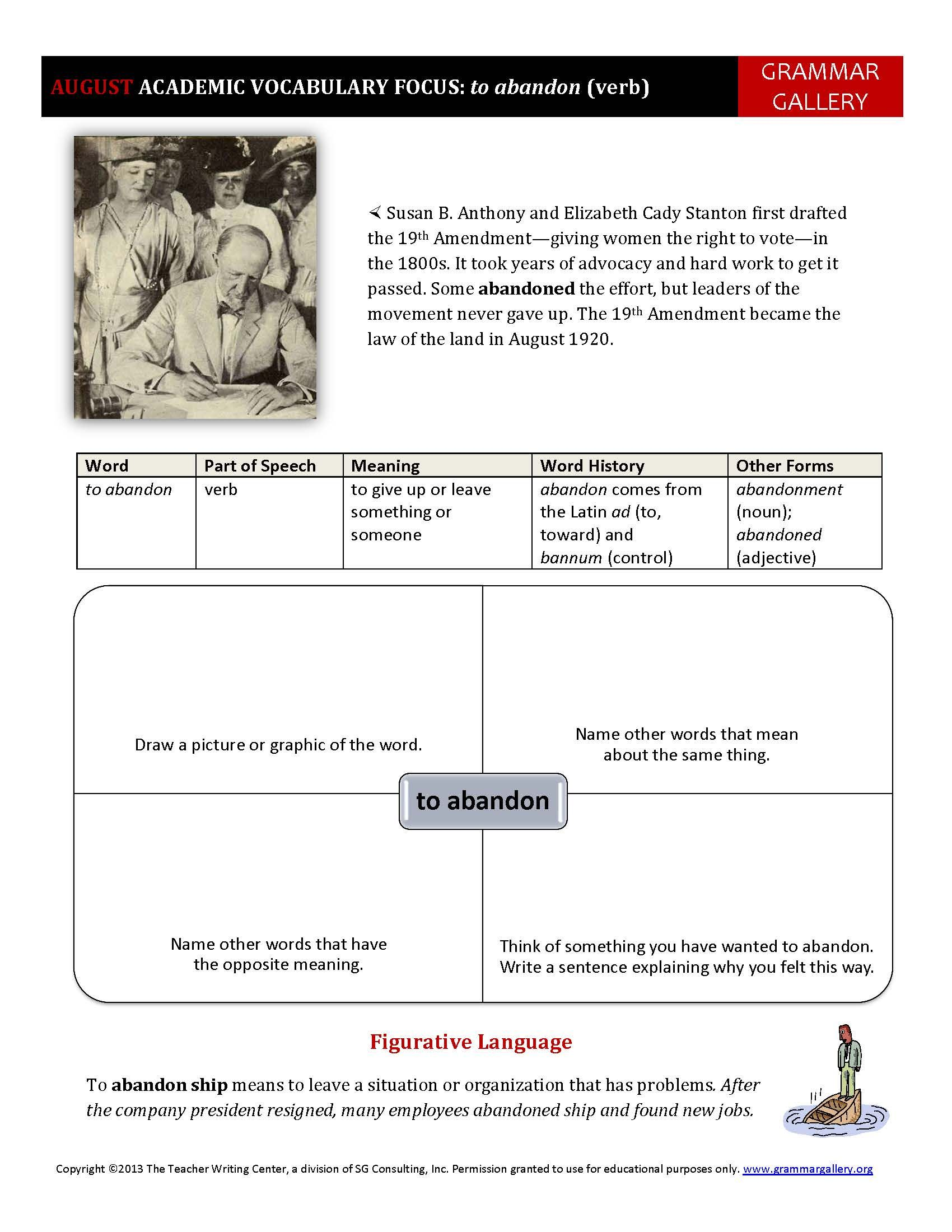worksheet Academic Vocabulary Worksheets a worksheet to help middle school and high students develop their academic vocabulary augusts