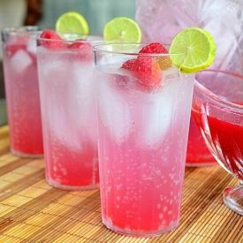 Refreshing Homemade Italian Soda made with raspberry key lime syrup.