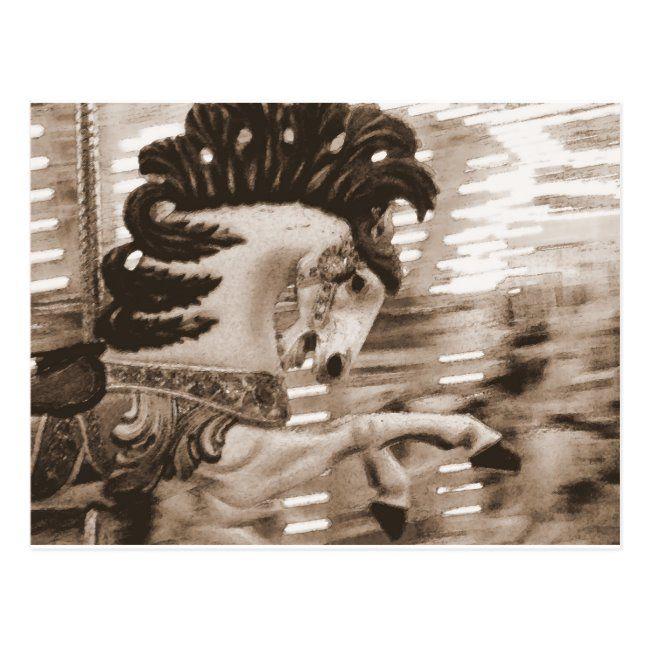 Merry Go round Horse Sepia Postcard #sepia #horse #merry #photography #carousel #Postcard