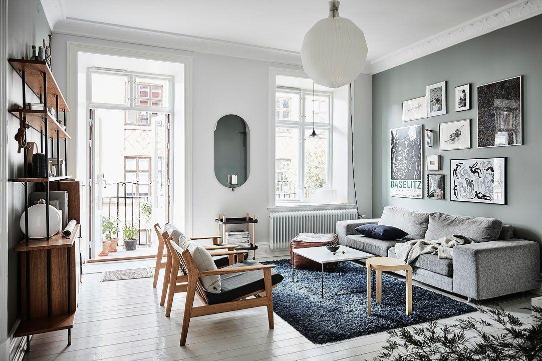 C lidos detalles en un piso n rdico pared azul for Decoracion nordica pisos pequenos
