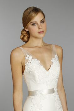 v-neck bridal dress with hair up - Google Search