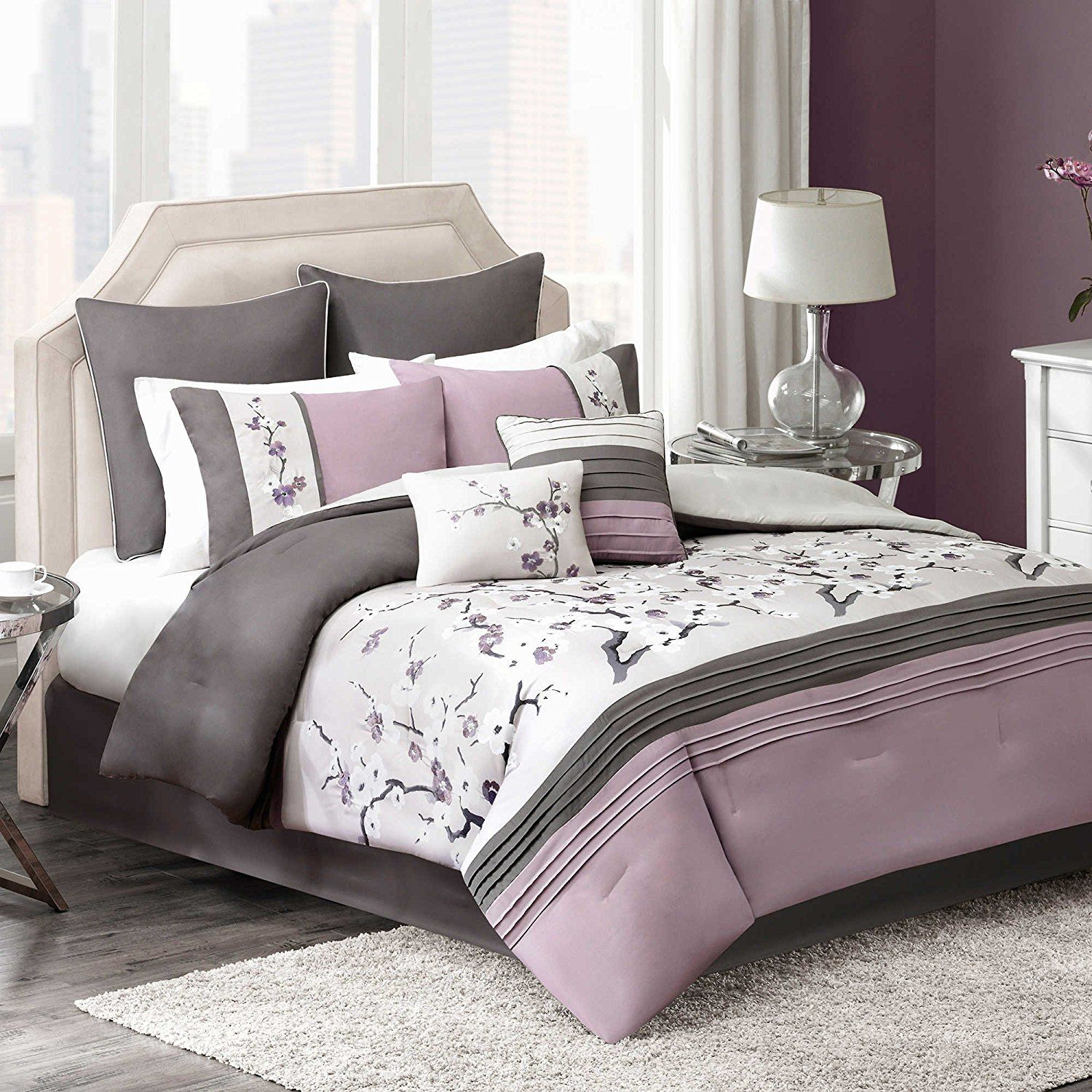 Plum Bedding Floral Embroidered forter Set for Teen Girls KING