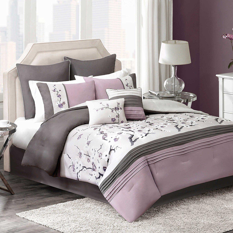 Bedroom sets for teenage girls purple - Plum Bedding Floral Embroidered Comforter Set For Teen Girls King