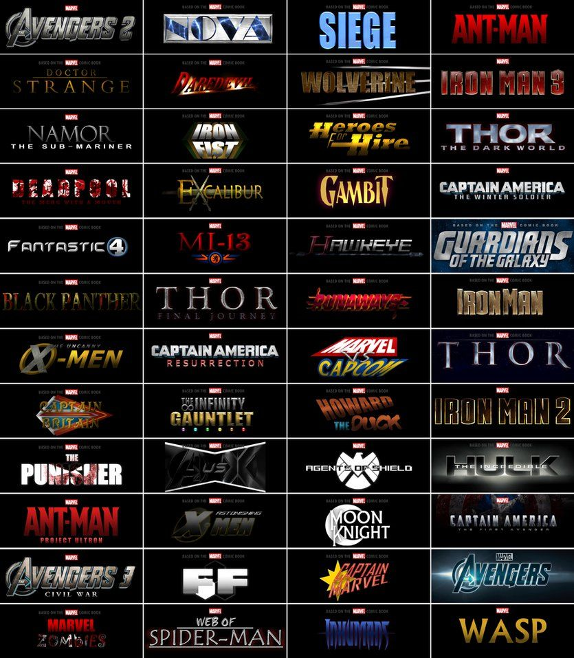 A collection of various logos for Marvel Studios films I