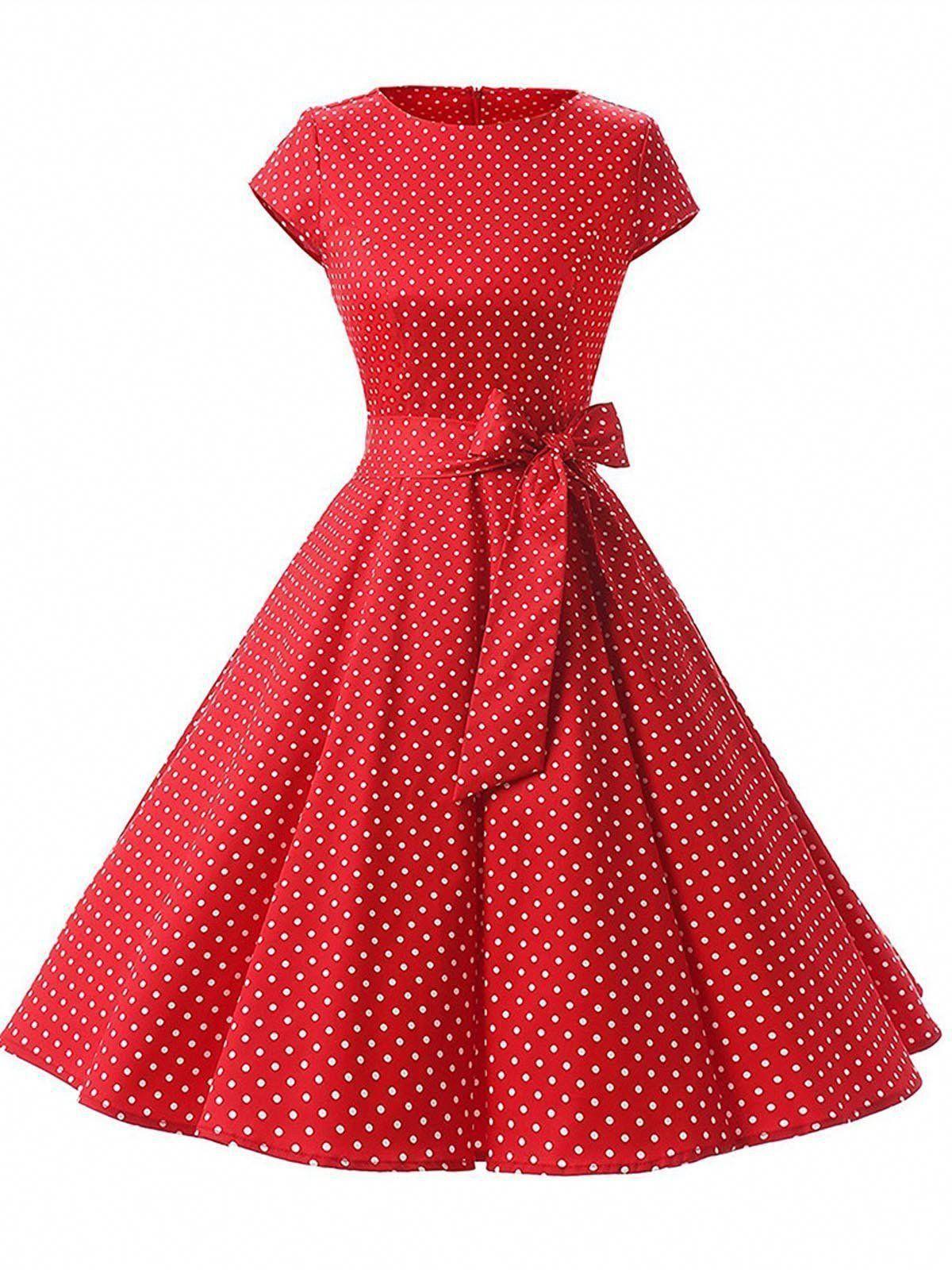 Red 1950s Polka Dot Swing Dress #vintage dress #prom dress #Flapper Dress #dresses #evening dress #LongSleeveBlackCocktailDress