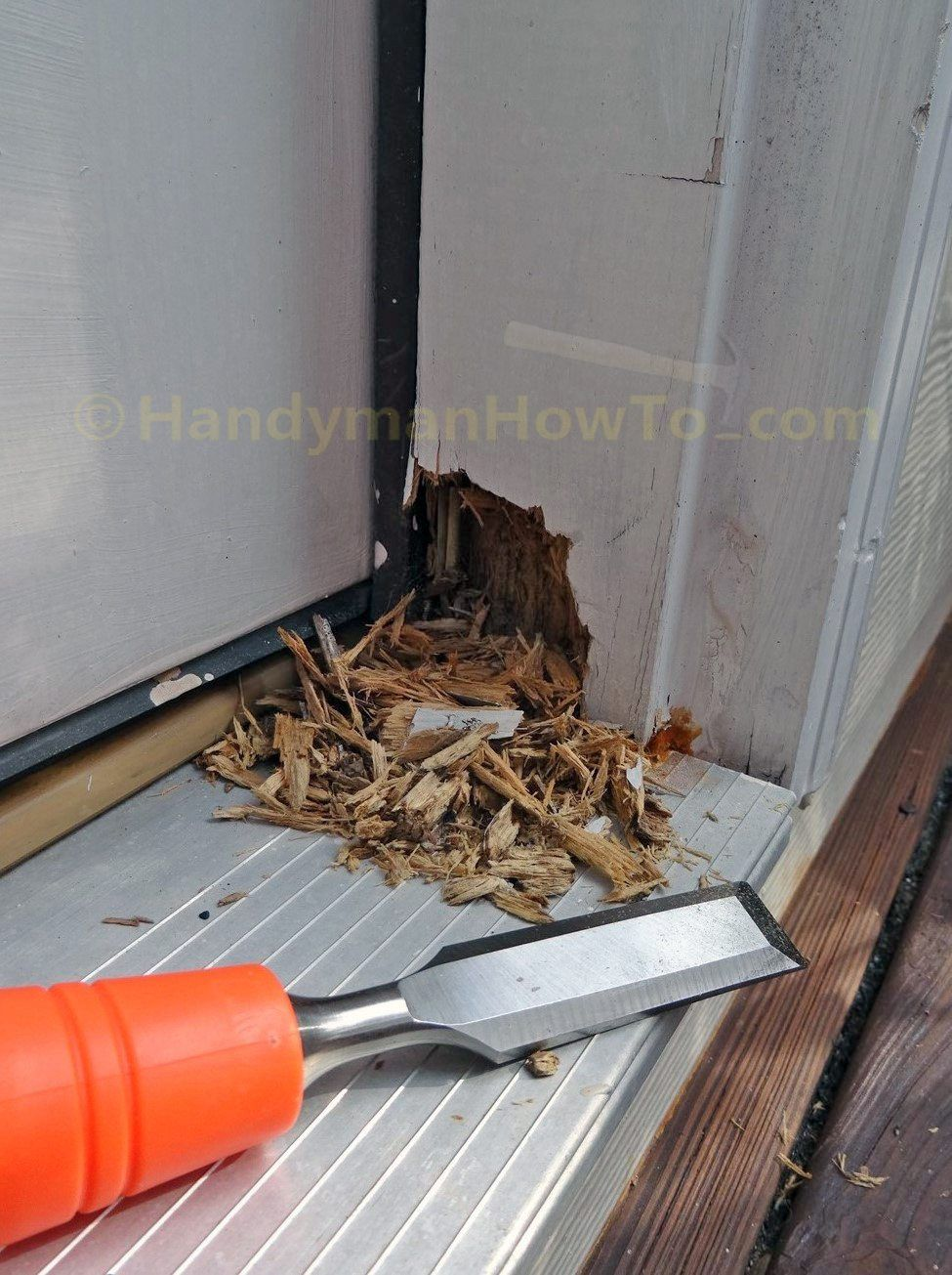 How To Repair A Rotted Exterior Door Frame By Sawing Out The Rotted Section And Splicing A New Section Diy Home Repair Exterior Door Frame Diy Home Improvement