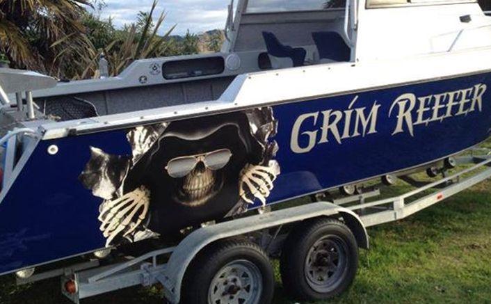 This Is Grim Reefer Fishing Boat A Seaboss  Custom Graphics - Custom pontoon decals