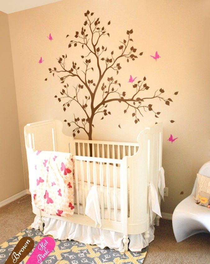Spring impressed butterfly nursery tree wall decals baby room wall ...