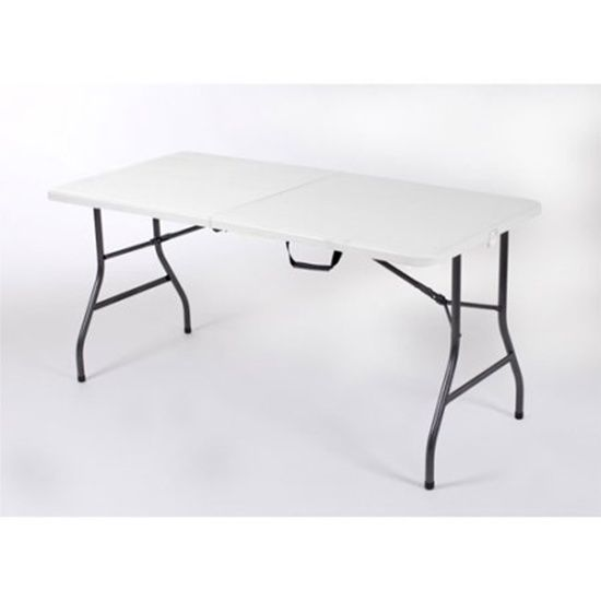 5 White Centerfold Table Multi Use Compact Folding Design