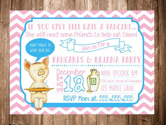 If you give a pig a pancake birthday pj party invitation digital this sweet invitation is just the right detail for your breakfast pancake party it features the pig from the book if you give a pig a pancake with stopboris Choice Image