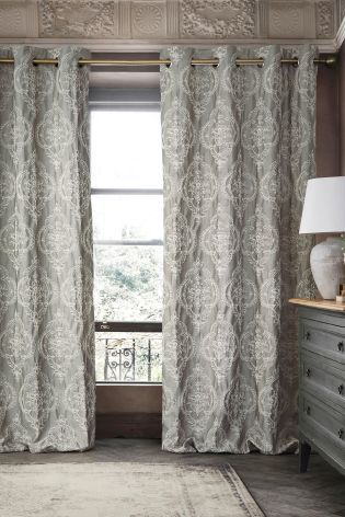 Buy Grey Delicate Textured Damask Eyelet Curtains From The Next Uk Online Shop Curtains Main Bedroom Damask