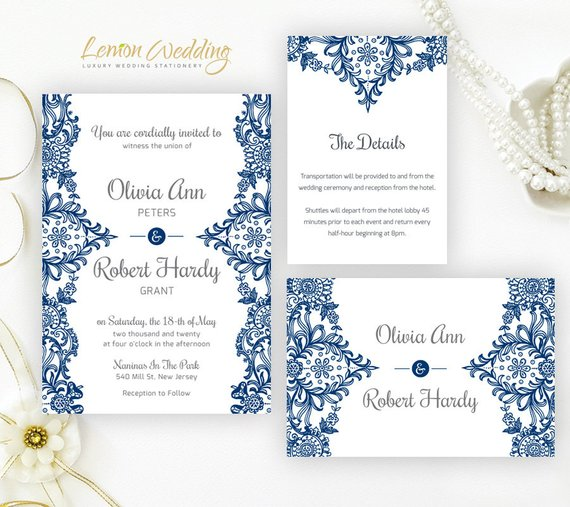 Printed Elegant Lace Wedding Invitation Set Cheap Wedding Etsy In 2020 Blue Wedding Invitations Lace Wedding Invitations Wedding Invitation Sets