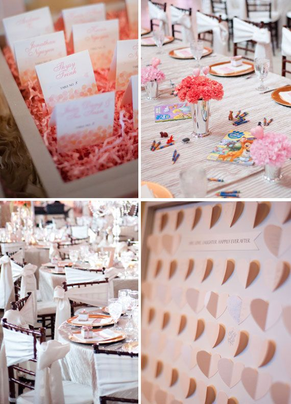 Peach Pink Wedding Escort Cards, Chair Sash, Kids Table