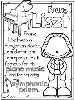 romantic composers coloring sheets fact sheets for the younger students resources composer