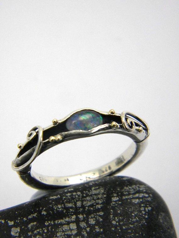 Opal Sterling silber Bio Ringschiene 14k gold von nikiforosnelly
