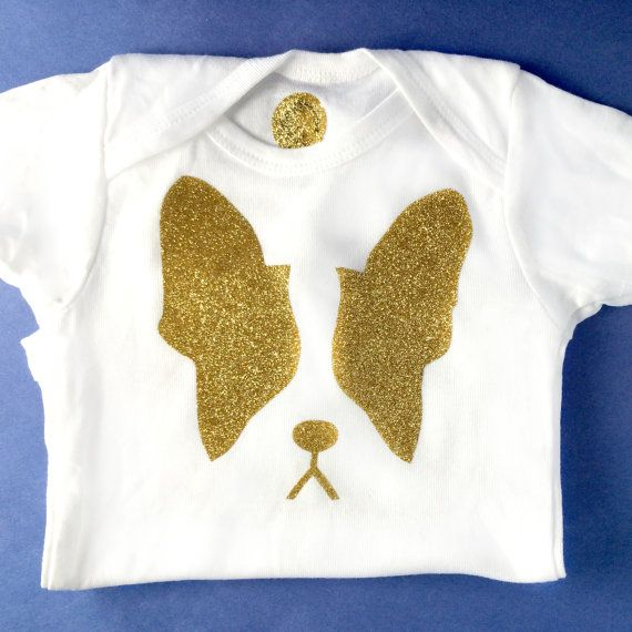 Gold Glitter Moosh Face #BostonTerrier or #FrenchBulldog #Onsie #frenchy #babygifts #doglover