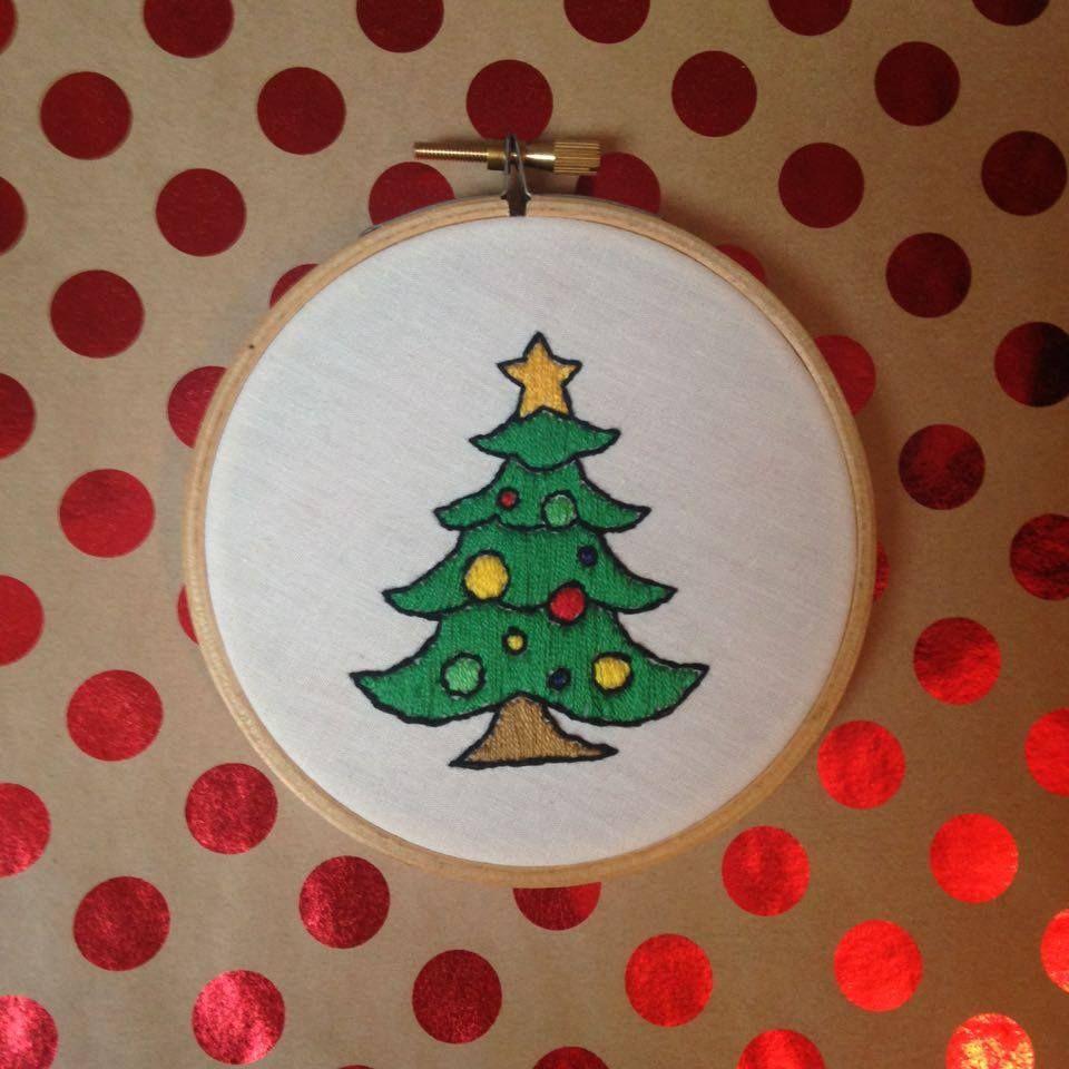 Handsewn Christmas Tree Emoji Embroidery Hoop Handmade Embroidery Hoops Cute Fun Embroidered Things Www Instagram Tree Emoji Unique Items Products Handmade