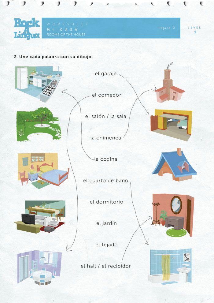 la casa- Rockalingua worksheets | La casa y los quehaceres ...