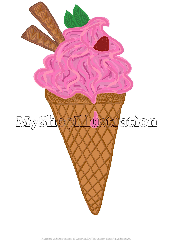 Ice Cream Cone Png Digital Ice Cream Clipart Ice Cream Png Etsy Clip Art Digital Original Artwork