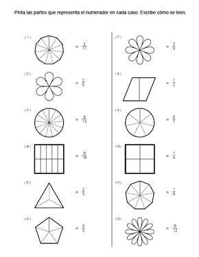 Ejercicios De Fracciones Para Colorear Buscar Con Google Fracciones Fracciones Para Primaria Matematicas Fracciones