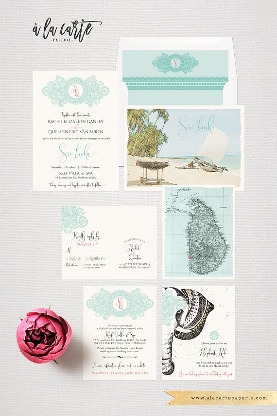 Destination wedding invitation Sri Lanka Ceylan India Asia Indian ...