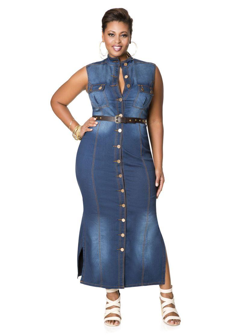 Belted Denim Maxi Dress | Denim maxi dress, Plus size maxi ...