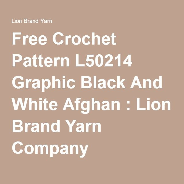 Free Crochet Pattern L50214 Graphic Black And White Afghan : Lion ...