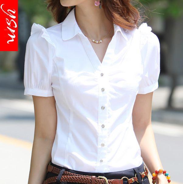 Women S Elegant Short Sleeve Cotton Blouses 2017 Summer Plus Size