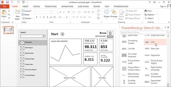 WireframingStoryboardingMicrosoftPowerpointPowermockup  User