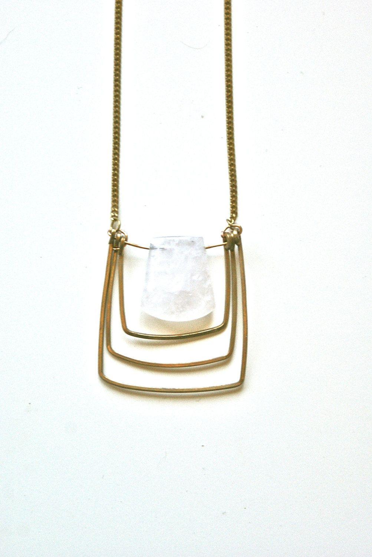Rose Quartz Rectangles Necklace