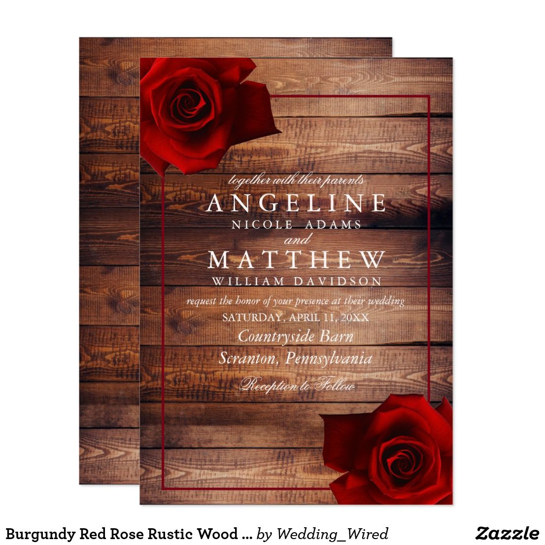 Burgundy Red Rose Rustic Wood Wedding Invitation Zazzle