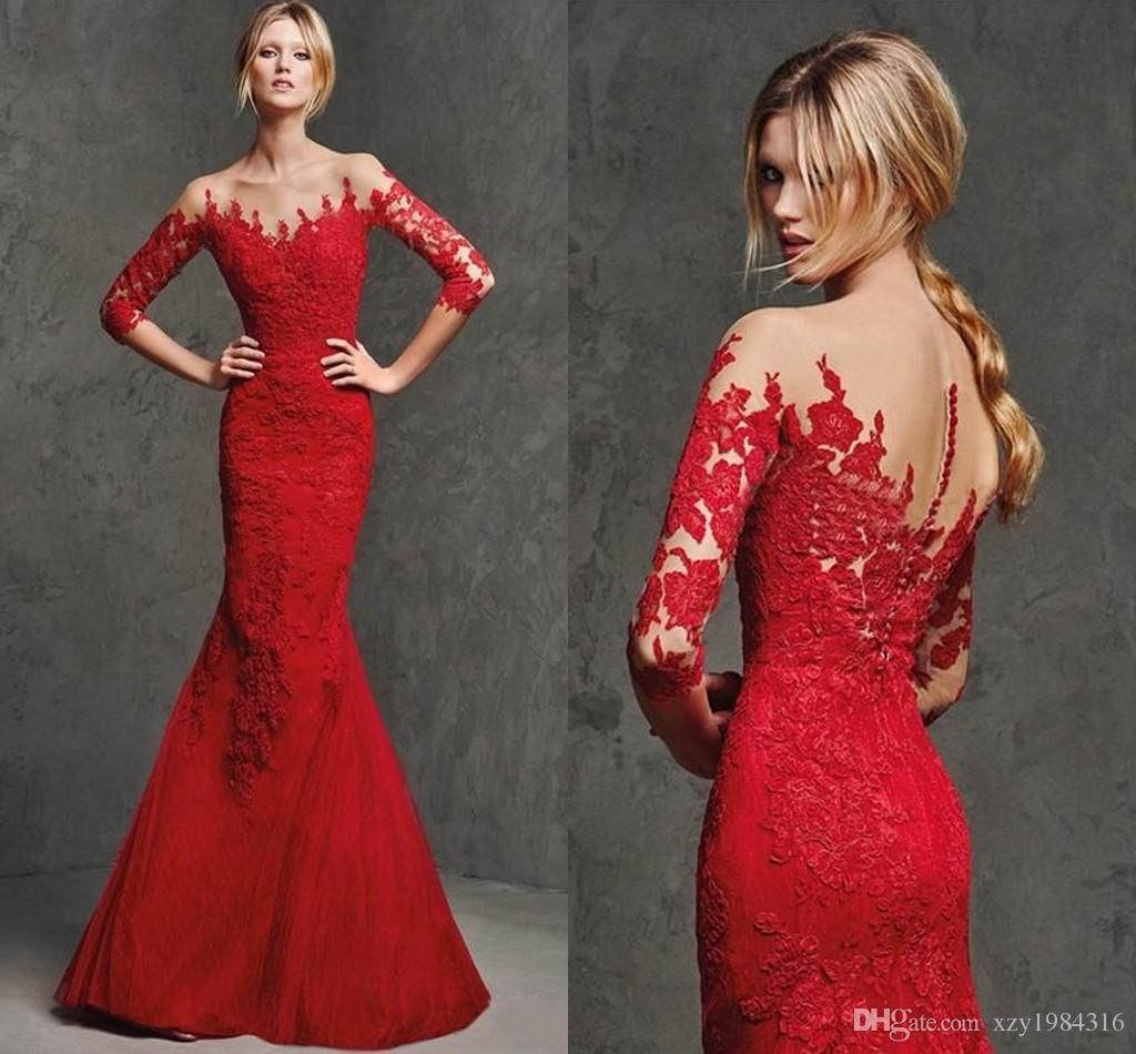 Evening dress plus size red lace evening gowns sleeves low cut