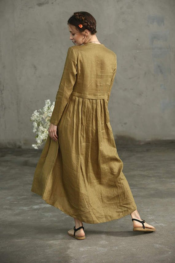 e048f8474a linen dress maxi dress Layered Maxi Linen Dress In Golden