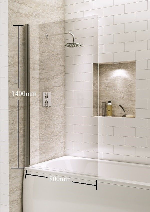Square Over Bath Shower Screen Door Panel Hinged Reversible Safety ...
